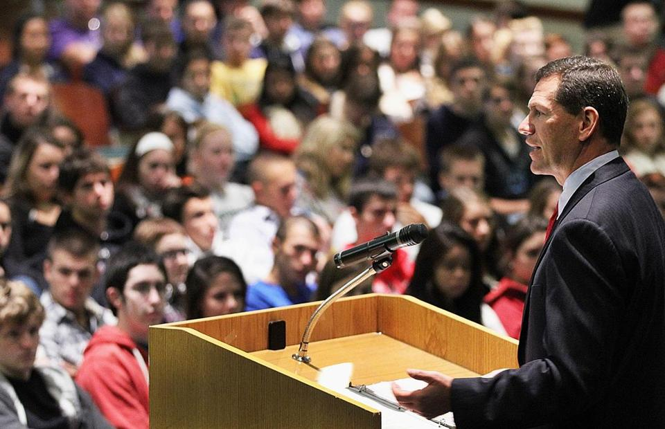Middlesex County District Attorney Gerard T. Leone addressed North Reading High School students on the dangers of texting and driving on Oct. 10, 2012.