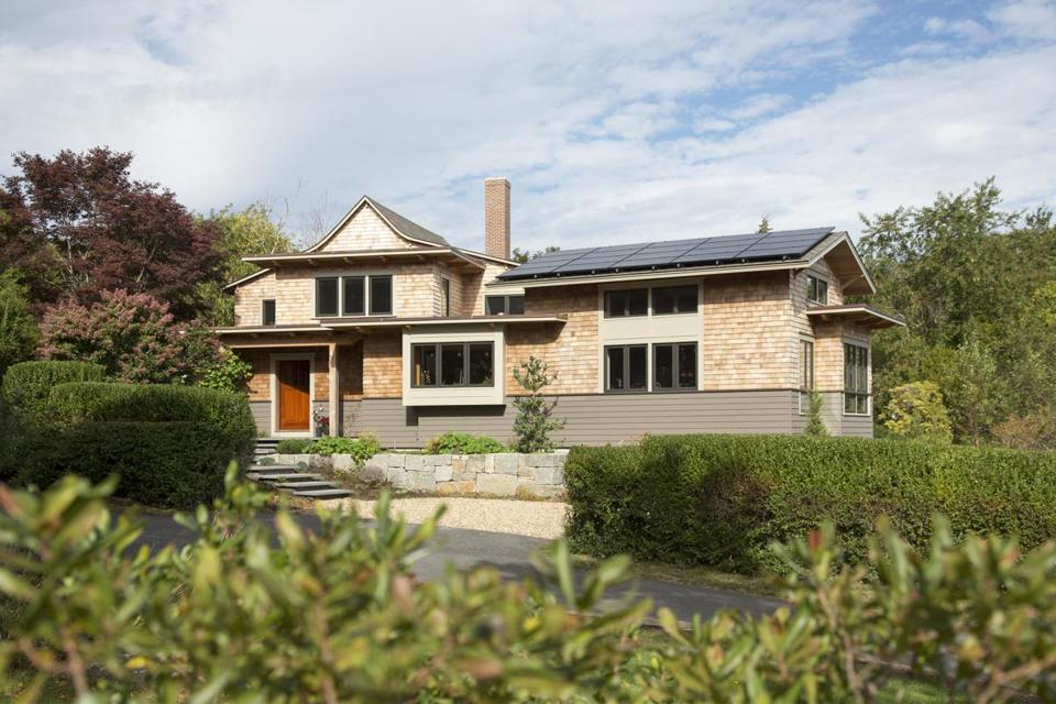 The 1,500-square-foot addition includes roof-mounted solar panels.