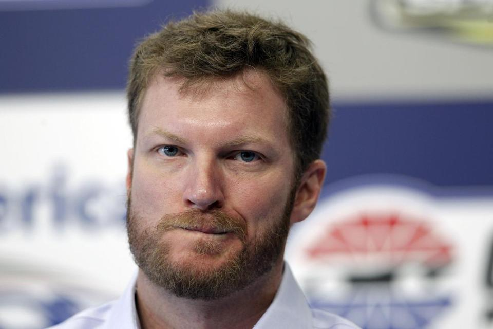 Driver Dale Earnhardt Jr paused as he answered reporters' questions on Thursday.