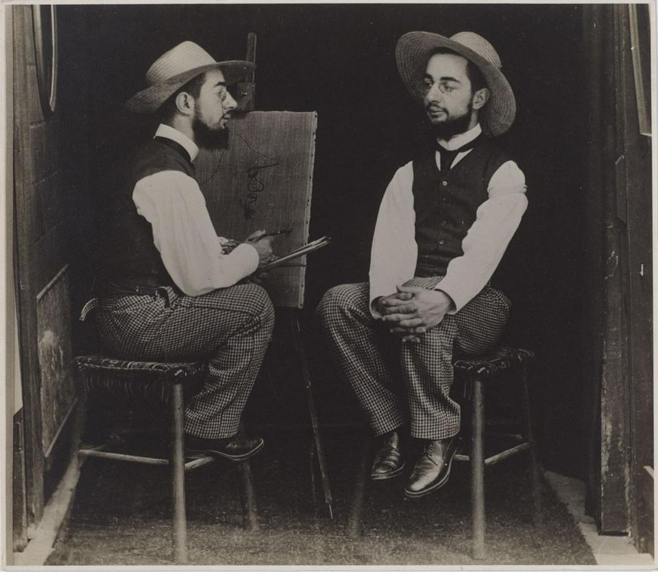 "Above: Maurice Guibert's ""Untitled [Henri de Toulouse-Lautrec as Artist and Model]."" Left: Matthew Porter's ""110 Junction."""