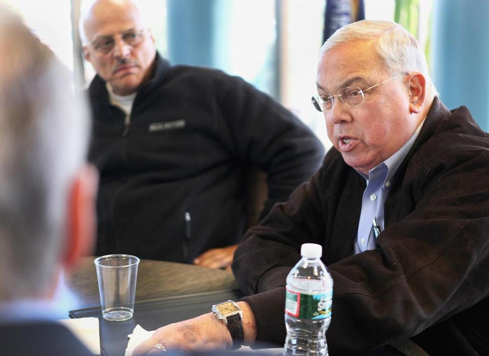In this Oct. 13 photo, Mayor Thomas M. Menino, right, strategized with local union leaders.