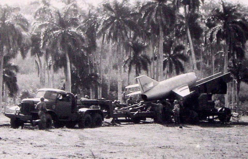 A Cuban anti-aircraft battery in October, 1962, during the Cuban missile crisis.