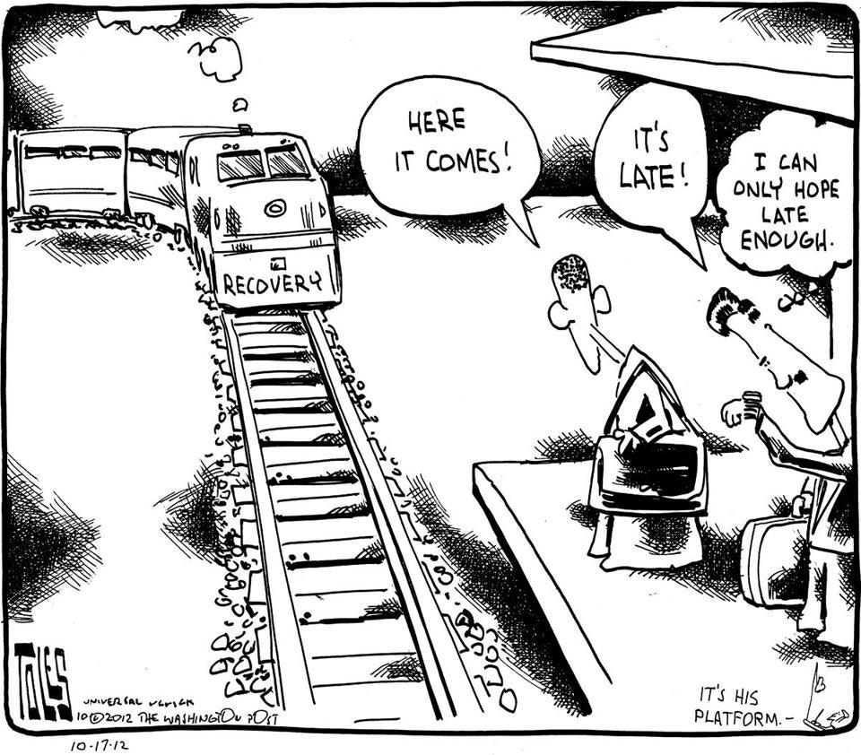 Editorial Cartoon The Recovery Train - The Boston Globe-1710