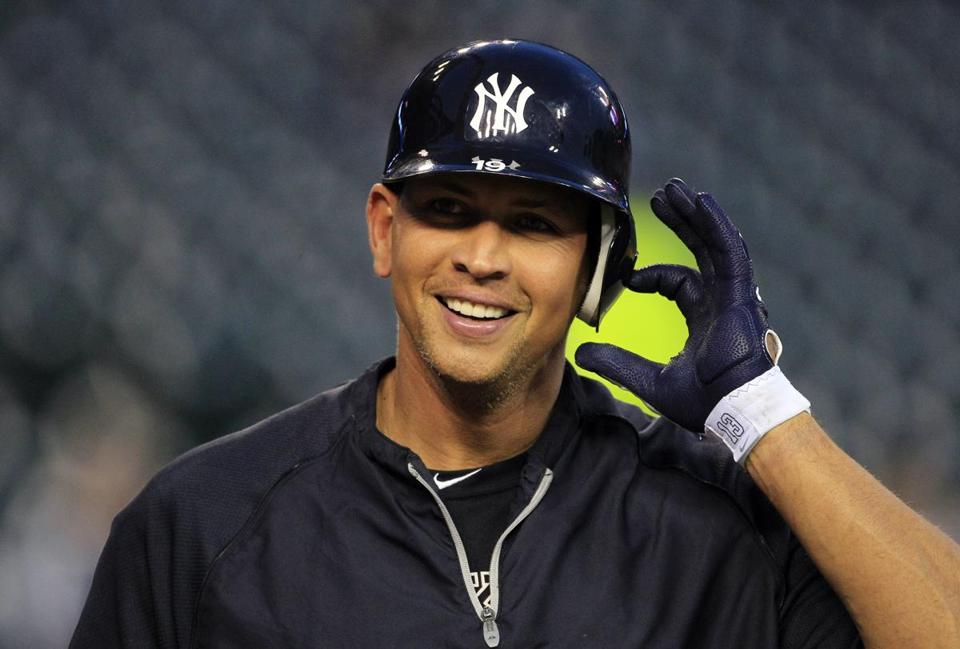 Alex Rodriguez takes off his helmet pre-Game 4; he wasn't in the lineup before the rainout.