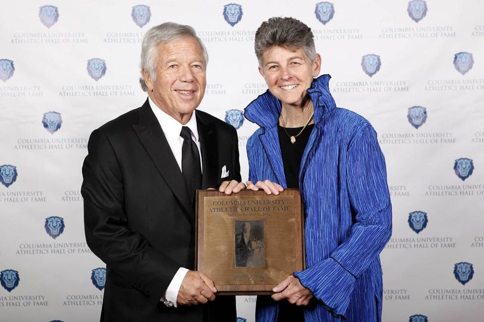 Robert Kraft, with Columbia University's athletic director Dianne Murphy, was honored in New York by his alma mater.