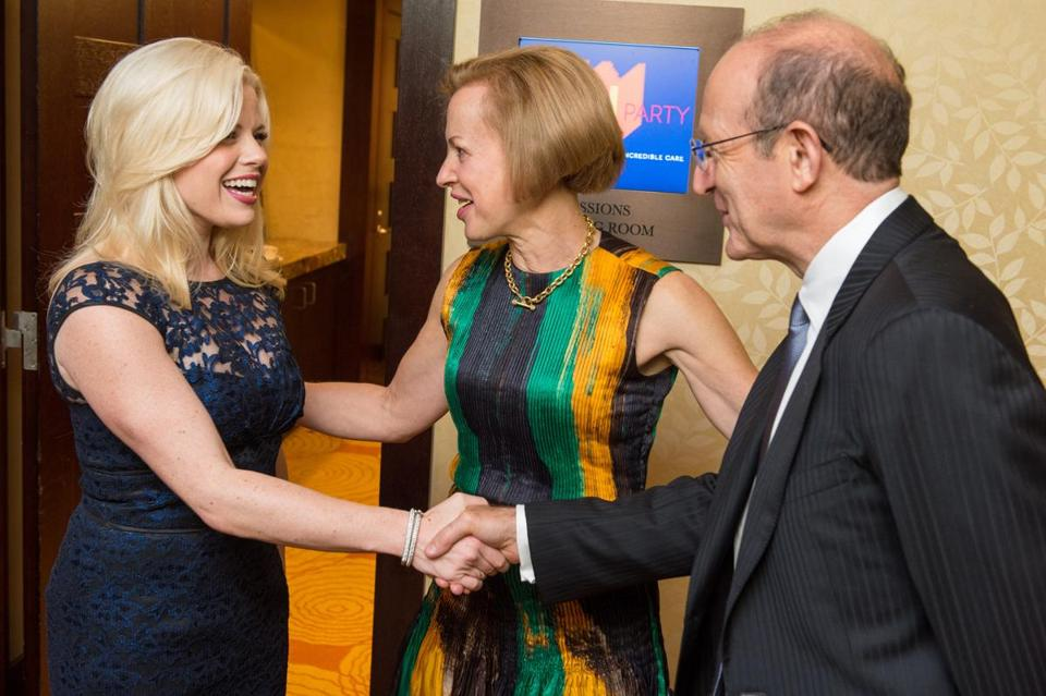 Megan Hilty (left) with Dr. Betsy Nabel, president of Brigham and Women's Hospital, and her husband, Dr. Gary Nabel.