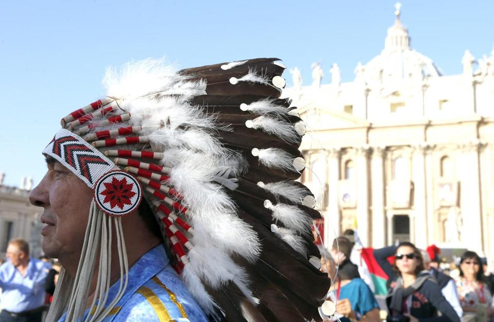 Wilton Littelchild waited in Saint Peter's Square in Vatican City Sunday for a mass to canonize seven new saints.