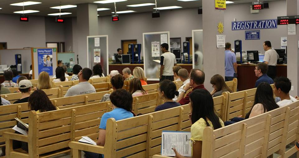 A line at a Watertown RMV in 2010.