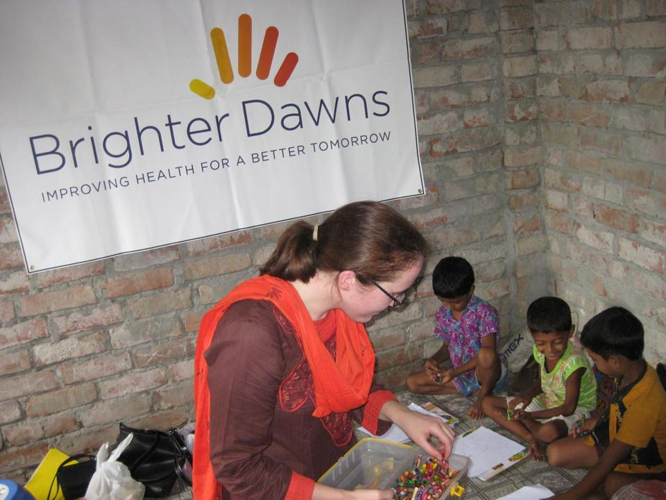 Kimberly Muellers of Westwood, founder of Brighter Dawns, works with children in Bangladesh.