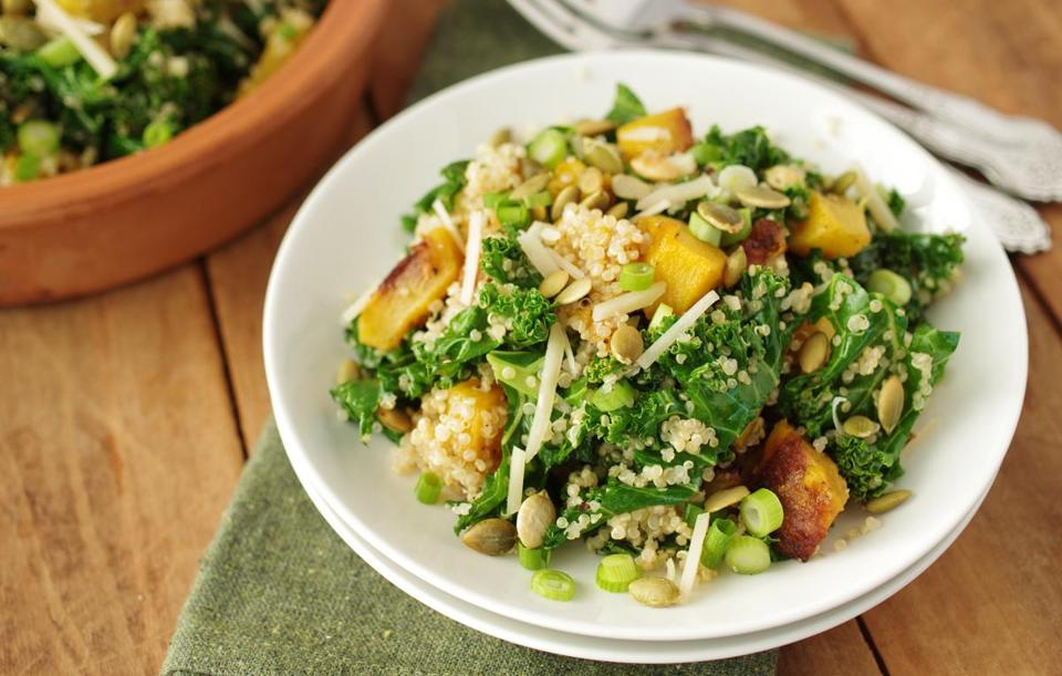 Quinoa salad with kale and butternut squash.