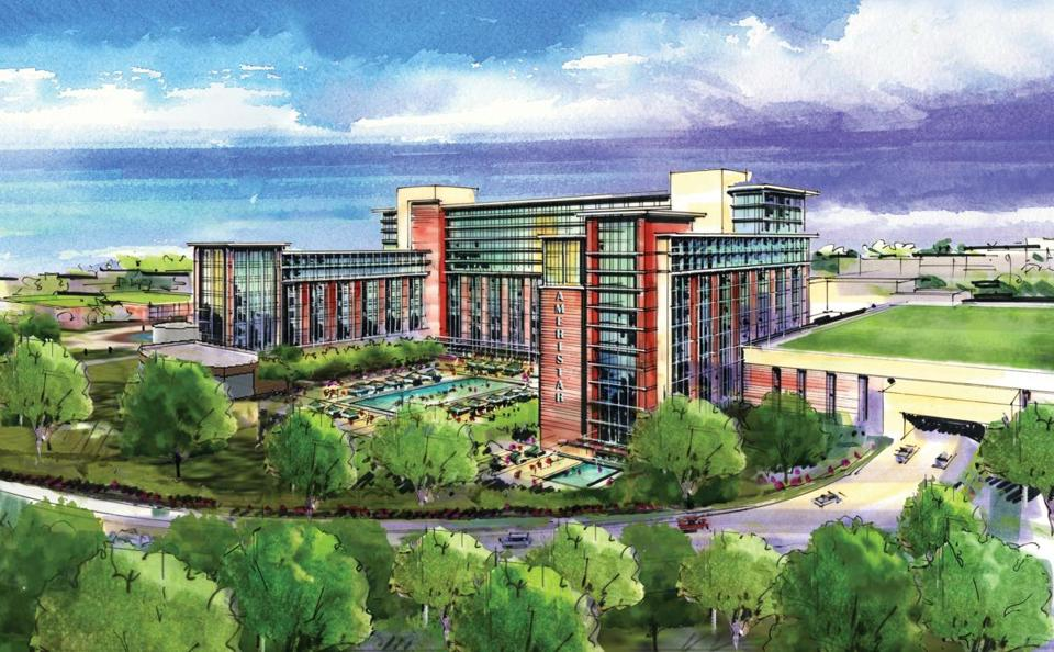 With a location in East Springfield and a cost of $910 million, the Ameristar Casinos plan features a 150,000-square-foot gambling floor with 3,300 slot machines and 110 table games, a 500-room luxury hotel with 50 suites as well as indoor and outdoor resort swimming pools, a spa, a fitness center, and retail stores.