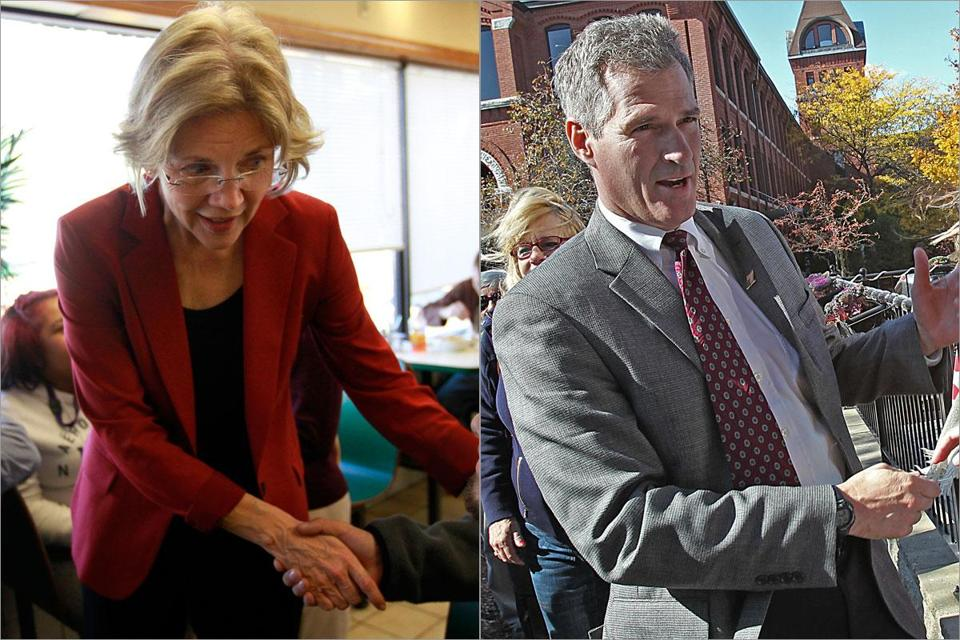 Elizabeth Warren was in Springfield Monday, while Scott Brown appeared in North Andover.