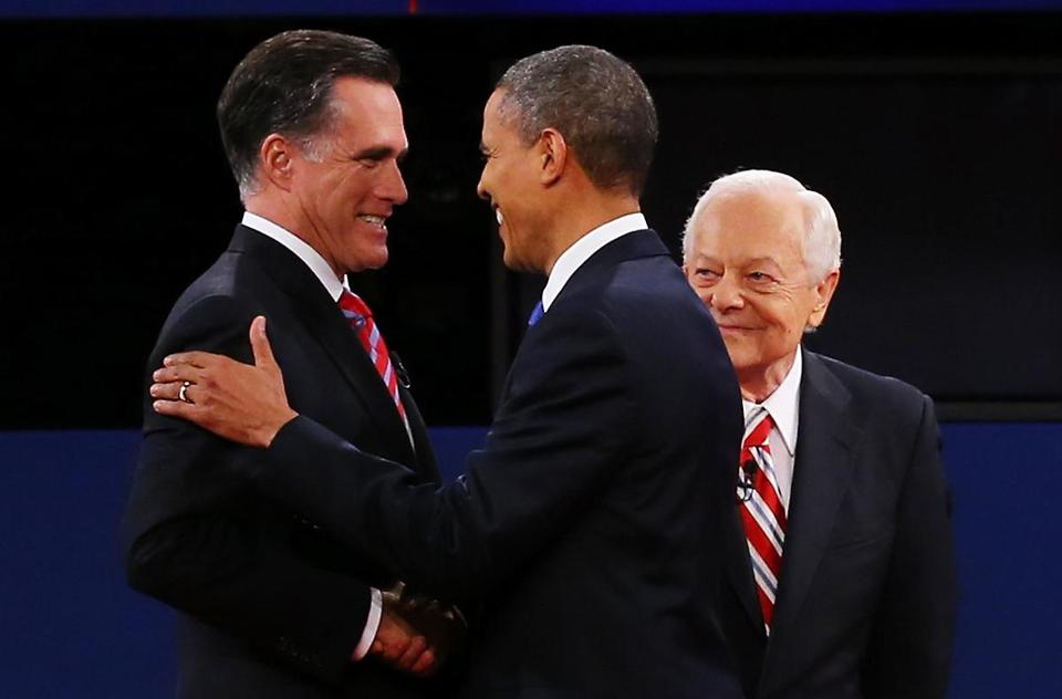 Mitt Romney and President Obama shook hands before their debate. Bob Schieffer of CBS looked on.