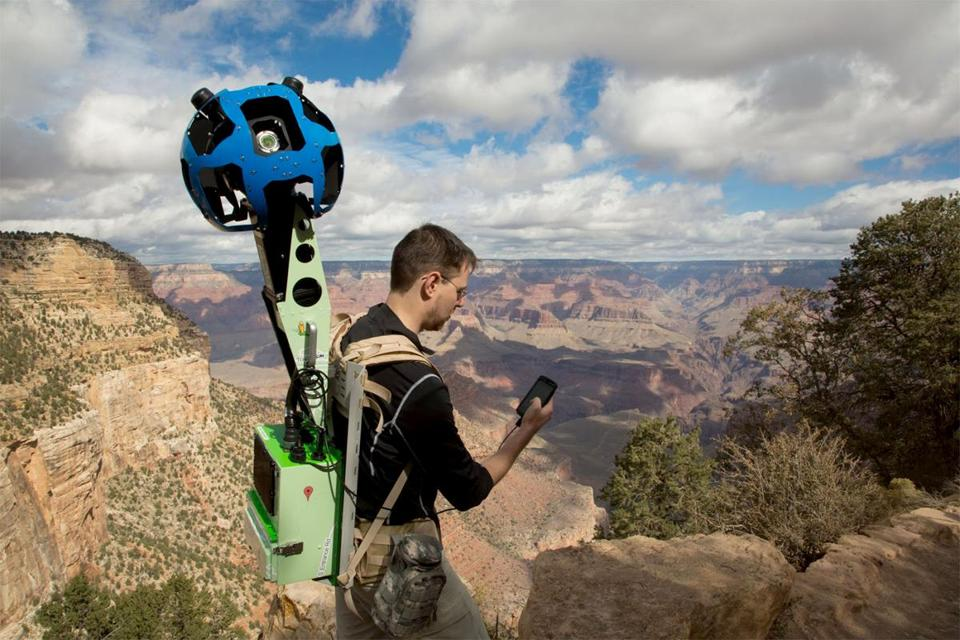 Google product manager Ryan Falor used his smartphone to control the trekker with a camera system on top to traverse the Grand Canyon. Google made its first official collection of data at the canyon this week.