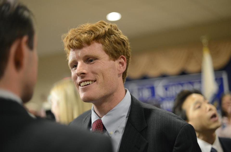Joseph Kennedy III talked with supporters Sept. 6 in Taunton.