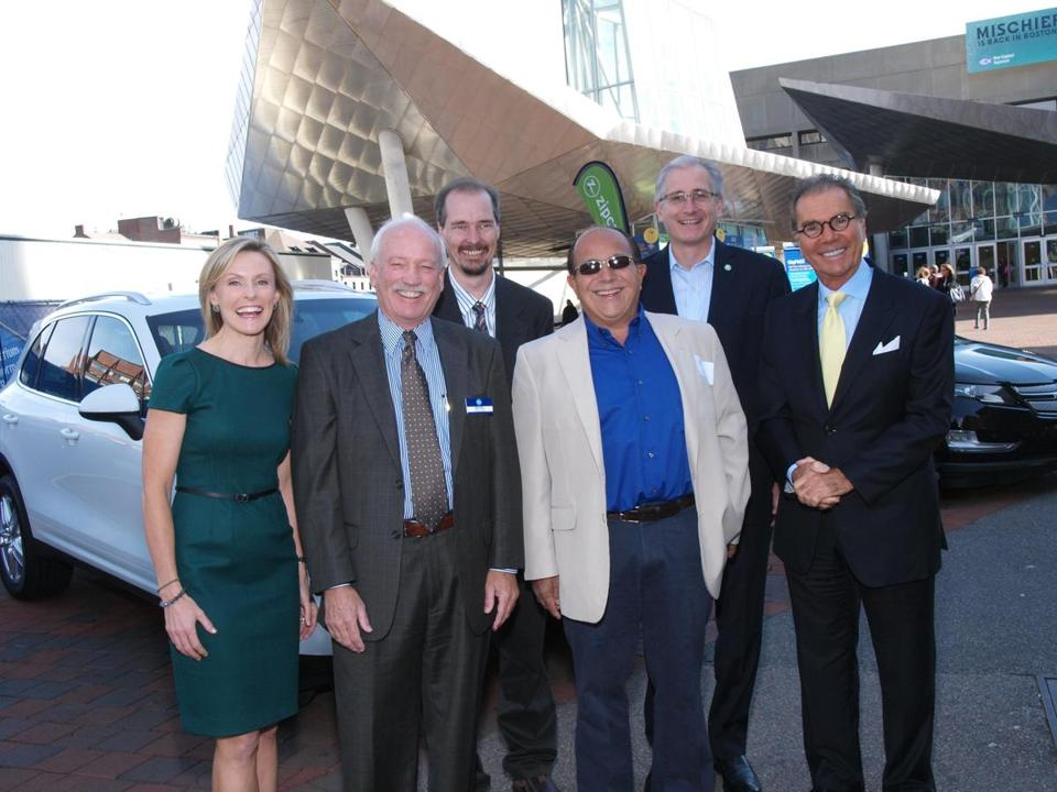 "From left: WBZ's Lisa Hughes, New England Aquarium President and CEO Bud Ris; Eric Evarts, Consumer Reports auto editor; Ray Magliozzi of National Public Radio's ""Car Talk""; Scott Griffith, chairman and CEO of Zipcar; and Herb Chambers, president of Herb Chambers Motor Group."