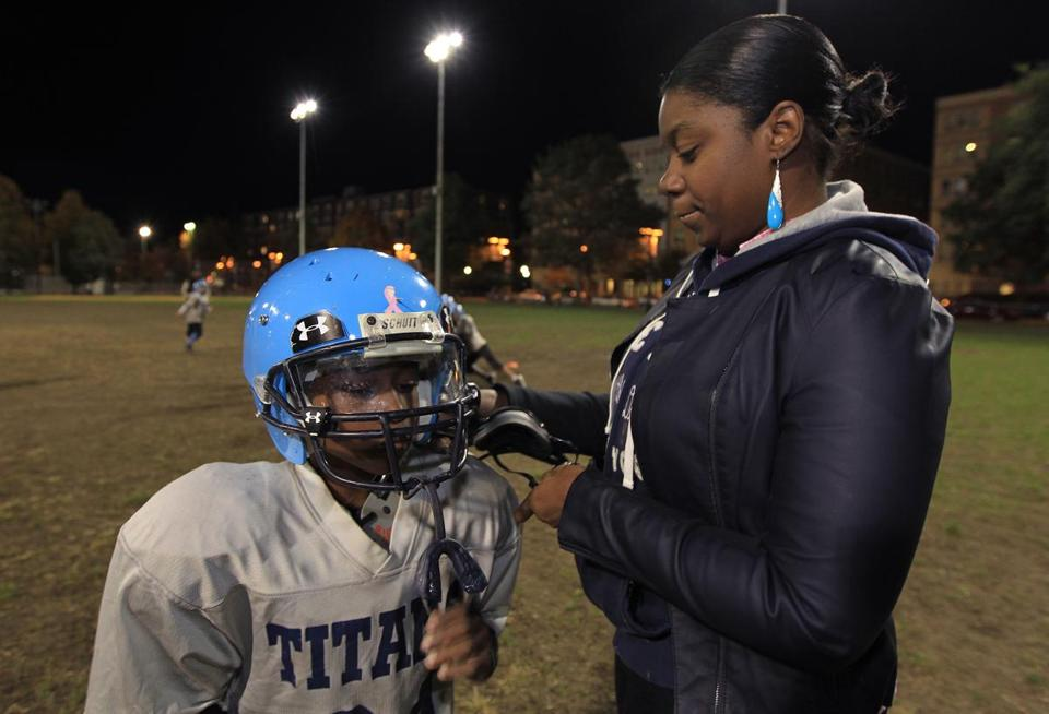 Chauntae Robinson worries about her son, 9-year-old Andre Landrum, who plays Pop Warner and had a mild concussion last month. Andre was not able to play for a couple of weeks until his symptoms subsided and he was cleared by a doctor.
