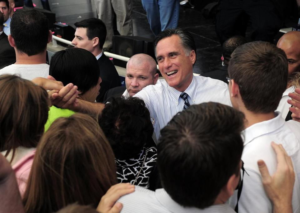 Mitt Romney greeted supporters during a rally in Henderson, Nev., about 10 miles east of Las Vegas.