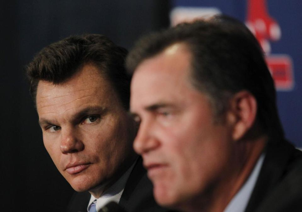 General manager Ben Cherington (left) and manager John Farrell interviewed four candidates for the Red Sox pitching coach job.