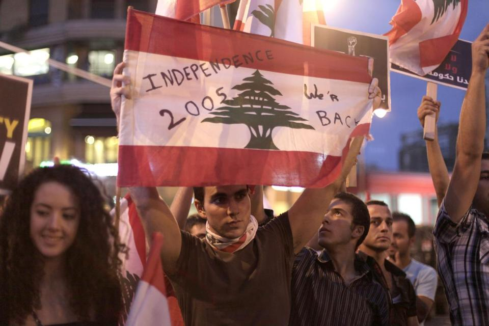 Lebanese antigovernment protesters gathered in Beirut's Sassine Square Wednesday. The assassination of Brigadier General Wissam al-Hassan has stirred sectarian tensions.