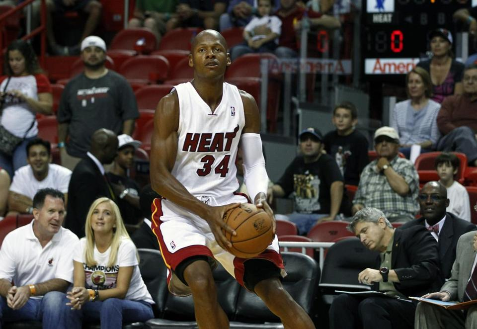 The Heat are similar to last season, but the additions of Ray Allen (above) and Rashard Lewis strengthen the bench.