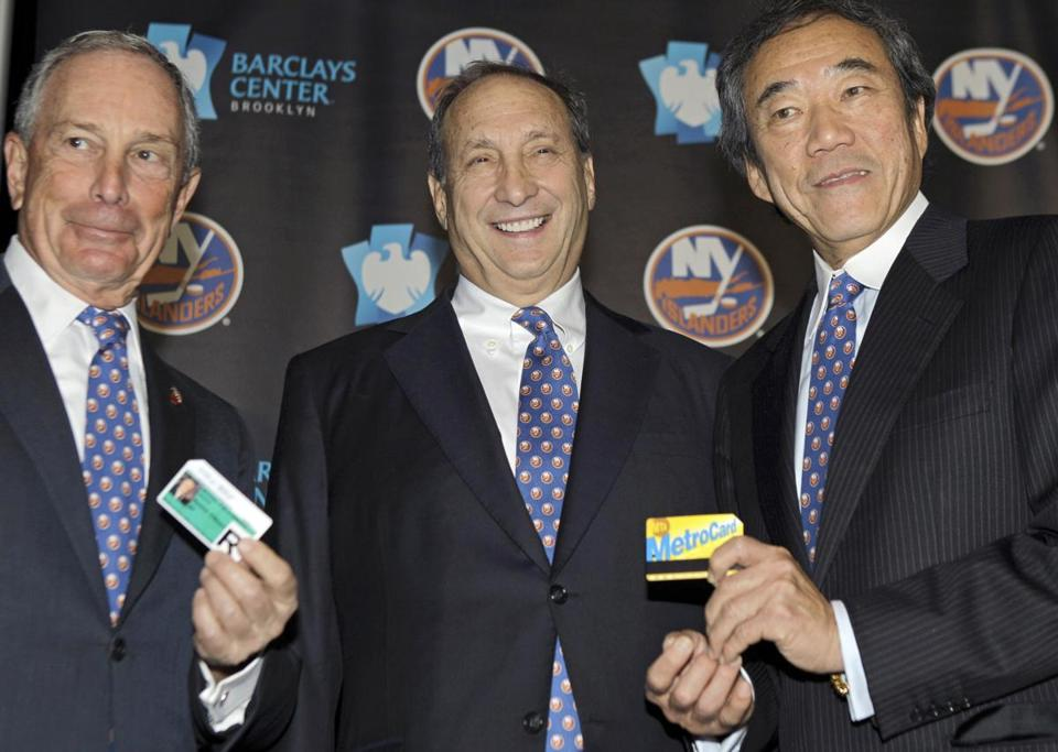 Mayor Michael Bloomberg, Barclays Center developer Bruce Ratner, and owner Charles Wang are all smiles.