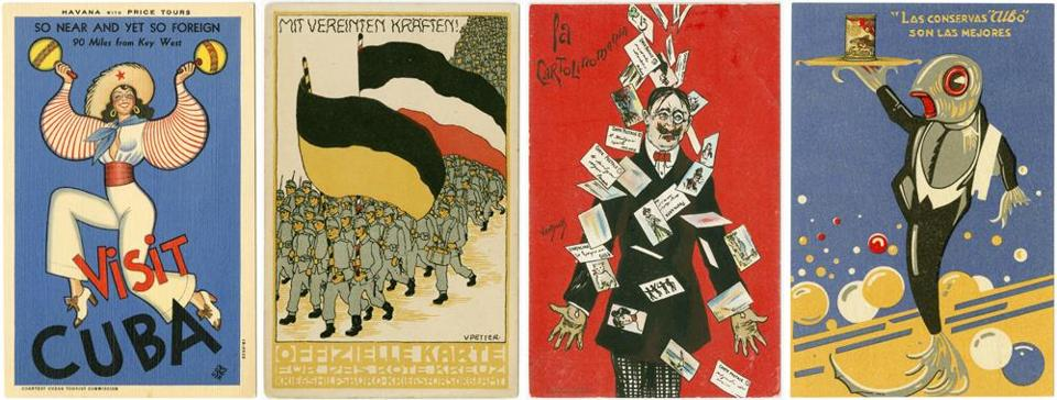 From left to right: Postcards by Conrado Massaguer, Cuba, about 1920, and by Vally Petter, Austria, for the Red Cross Auxiliary War Office, circa 1914; a depiction of postcard mania, published by G.F. & C. van Dock, circa 1905, and an advertisement for Albo canned fish, circa 1930.