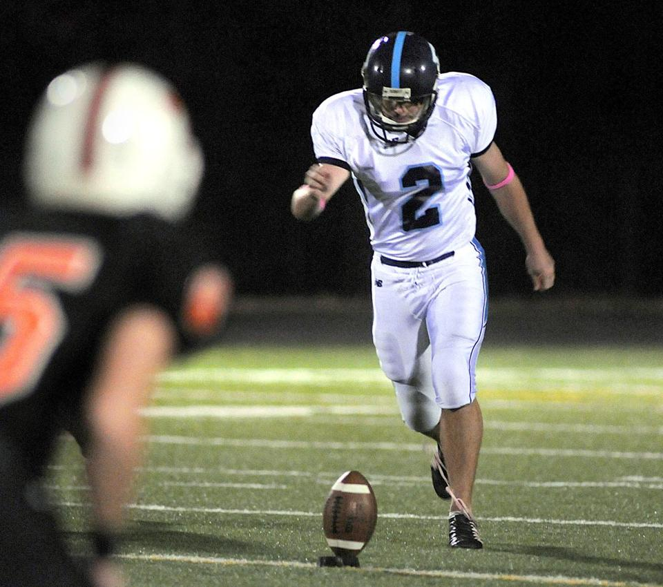 During the first half of the Franklin High School football game, Mike Carden made a kick.