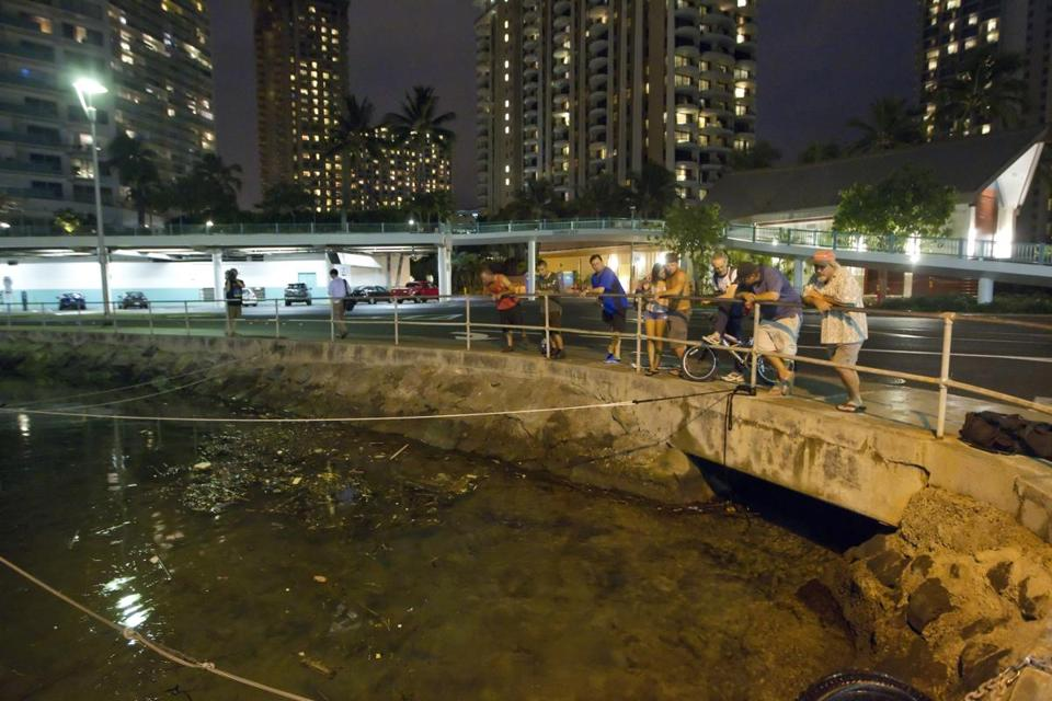 Residents and visitors in Oahu, Hawaii, watched the water level in the Ala Wai Harbor, waiting for a tsunami.