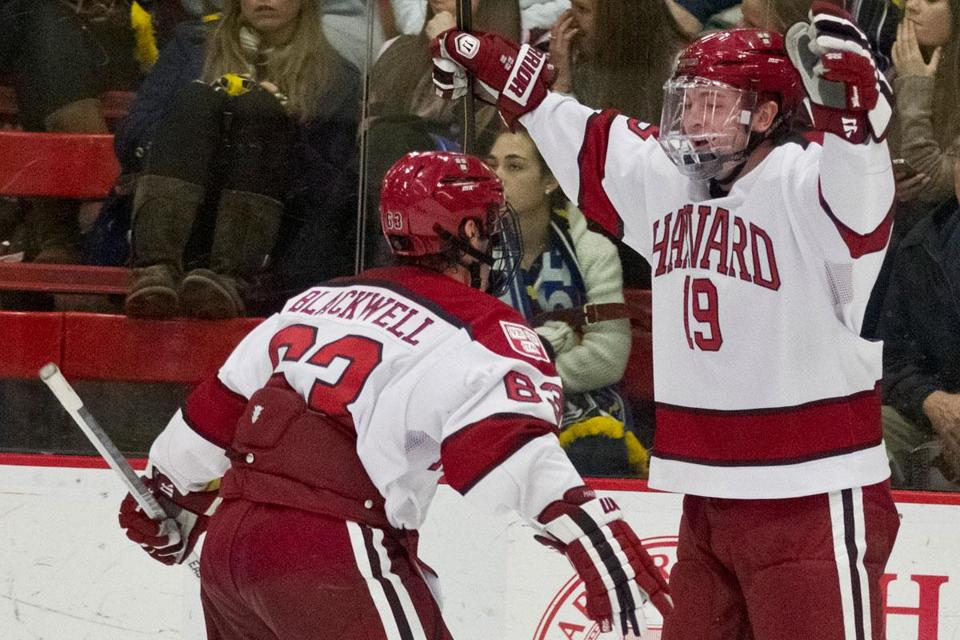 Freshman Jim Vesey (19) had two goals and an assist in his Crimson debut.