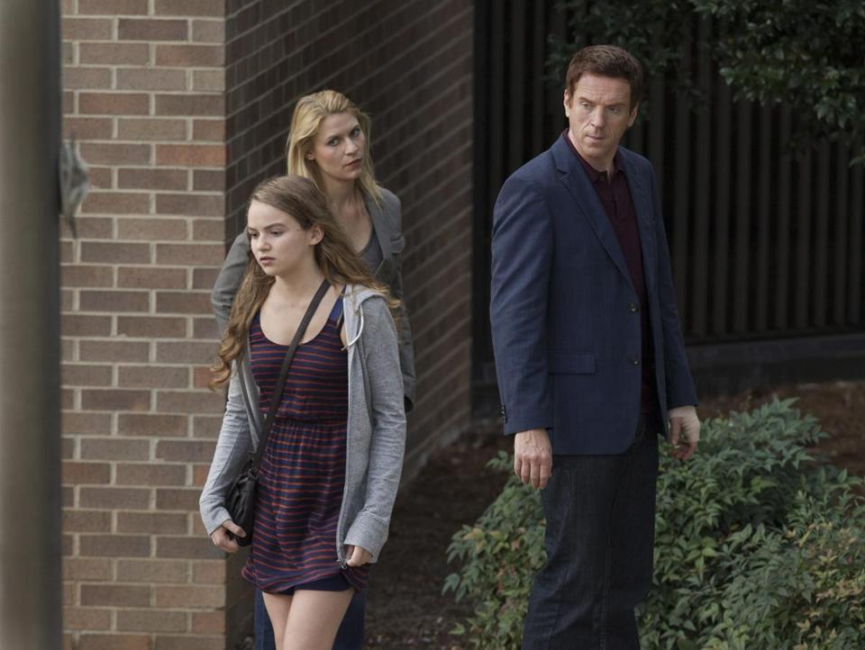 "Morgan Saylor as Dana Brody (front), Claire Danes as Carrie Mathison, and Damian Lewis as Nicholas ""Nick"" Brody in Showtime's ""Homeland."""