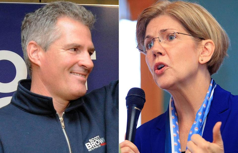 Scott Brown stopped in Lowell while Elizabeth Warren spoke briefly in Lynn at a breakfast event Sunday.
