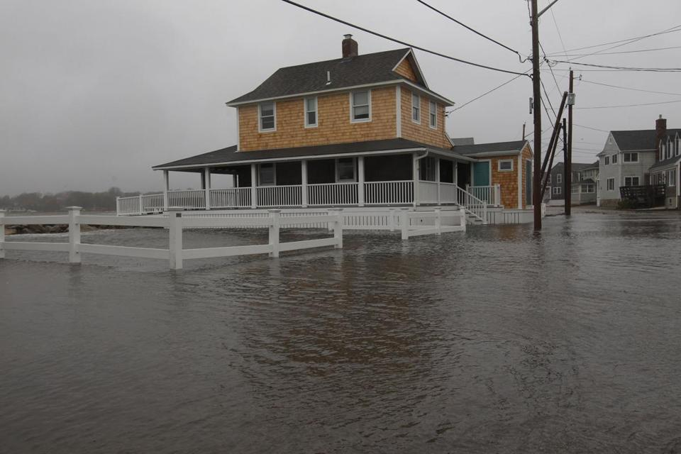 Hurricane Sandy swamped Scituate and other towns Monday. The storm dumped from 2½ to 4 inches of rain on the state.