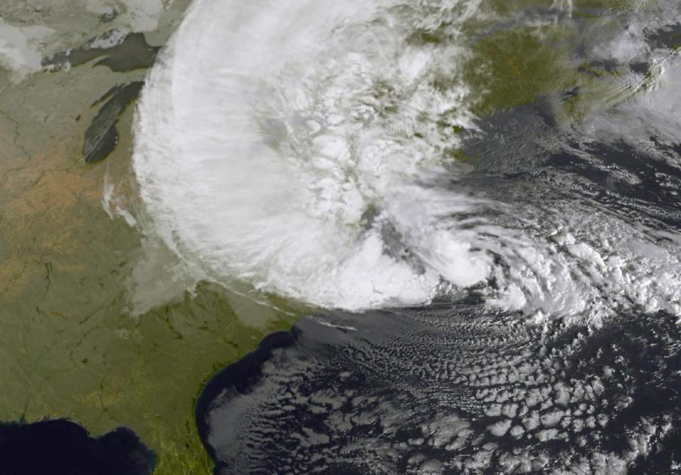 A satellite image shows Hurricane Sandy as it battered the East Coast on Monday.