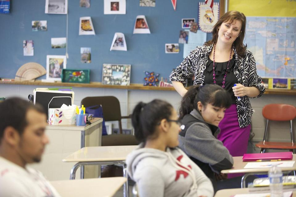 At Dedham High School, Alison Reilley teaches the Spanish for Native Speakers class, an elective that focuses on culture and immigration.
