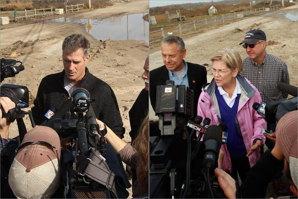 Senate rivals Scott Brown and Elizabeth Warren briefed reporters at about the same spot in Westport.