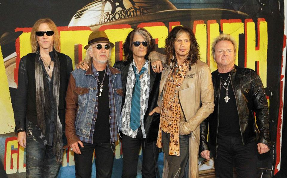 From left: Tom Hamilton, Brad Whitford, Joe Perry, Steven Tyler, and Joey Kramer promoting their new album in West Hollywood earlier this year.