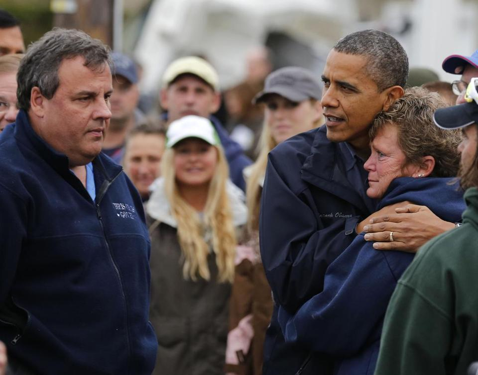 President Obama hugged Donna Vanzant in Brigantine, N.J., during a tour of devastated areas with the state's governor, Chris Christie.