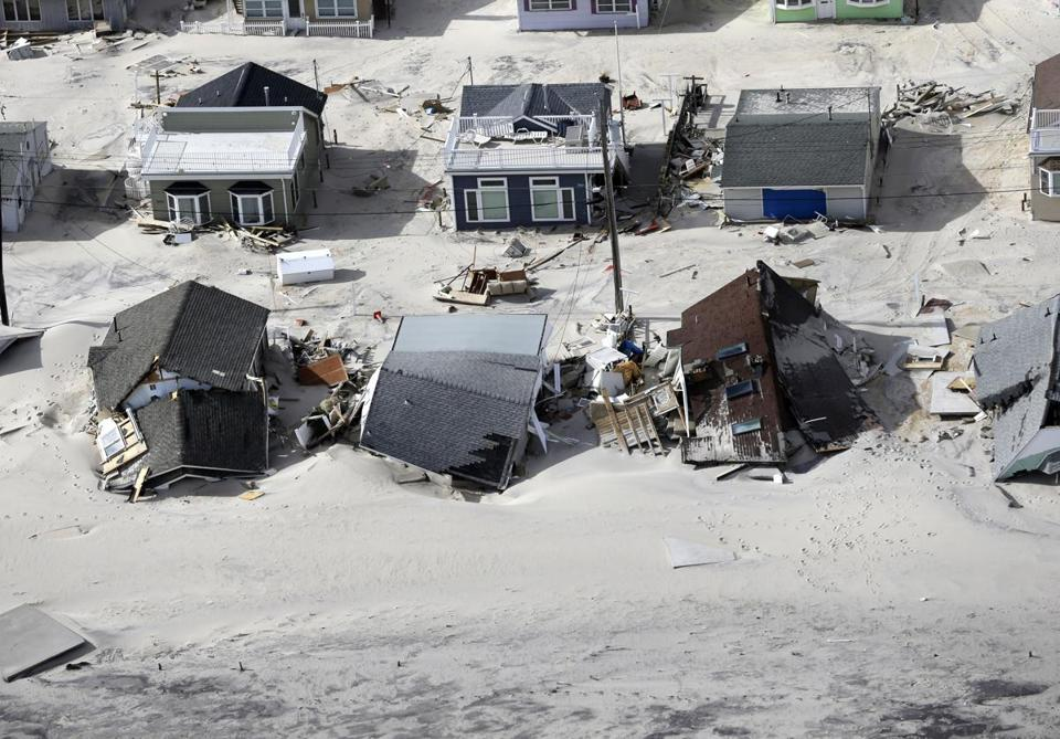 An aerial photo showed storm damage in the central Jersey Shore area of New Jersey Wednesday.
