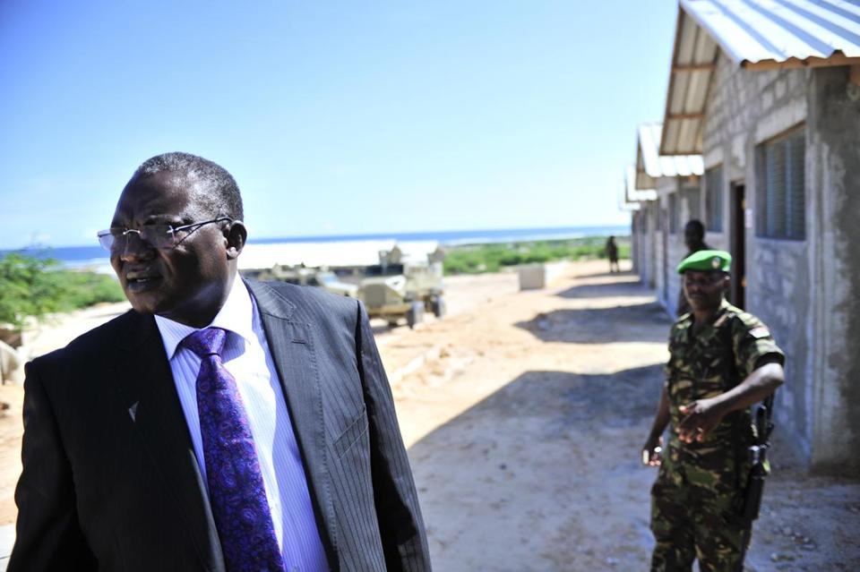 African Union Special Representative Boubacar Diarra visited a military base in Mogadishu, constructed for Somali security forces.