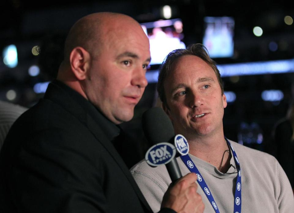 UFC President Dana White, left, and Jay Mohr attend the UFC on Fox event at Staples Center.