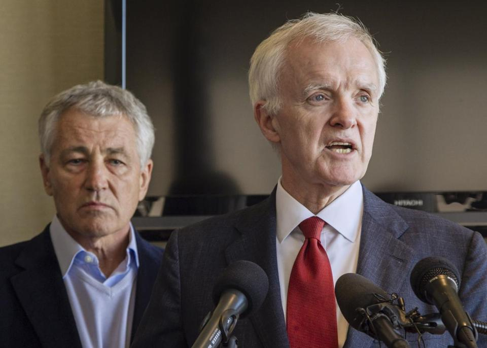 Senate candidate Bob Kerrey, backed by Republican Chuck Hagel, received a boost Thursday.