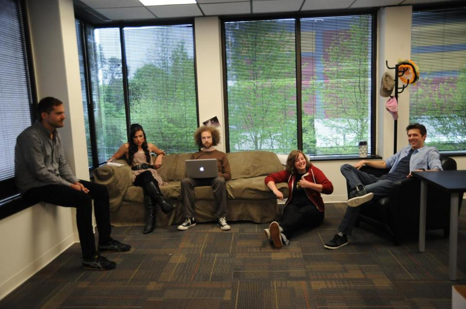 From left: Will Sharick, Alison Monda, Paul Gude, Tori Wadzita, and Forest Gibson in the I Can Has Cheeseburger? office.