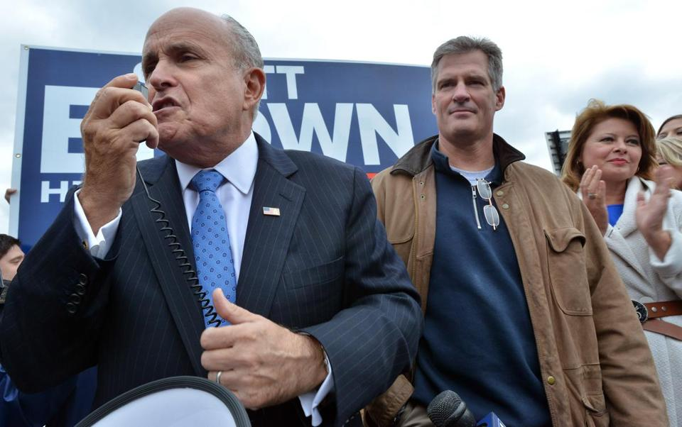 Senator Scott Brown campaigned in Boston's North End Friday with Rudolph W. Giuliani (left), former New York City mayor and fellow Republican.