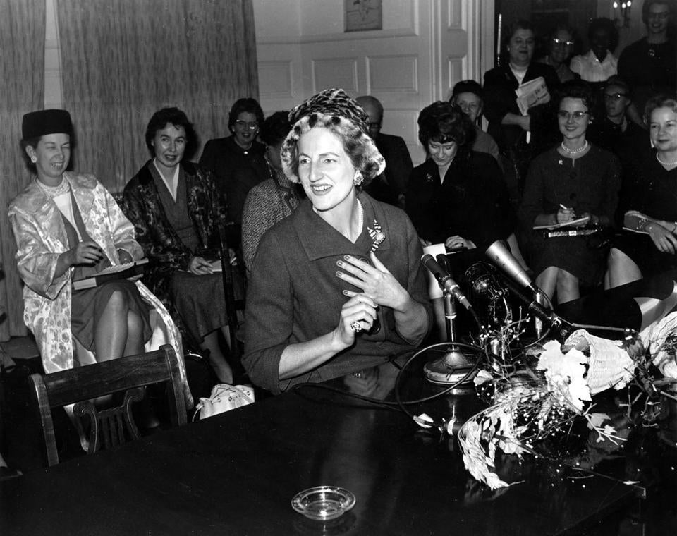Letitia Baldrige held a press conference after she was named White House social secretary.