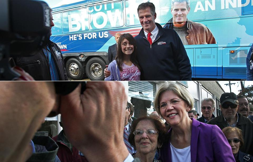 Scott Brown and Elizabeth Warren are seen at campaign events.