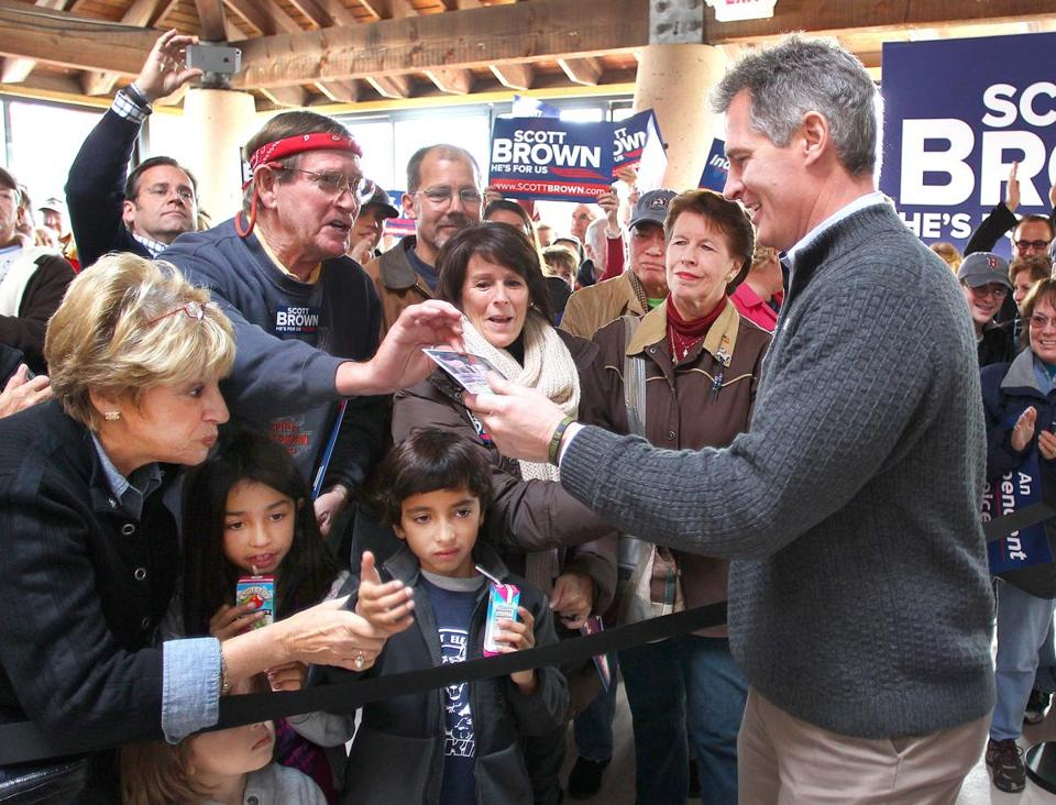 Like his rival, Elizabeth Warren, Scott Brown would face a choice if elected between ideology and bipartisan dealmaking.