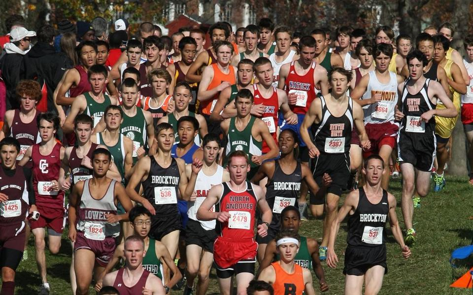 The Div. 1 and 2 junior-senior boys had to jockey for position in the race's early going.