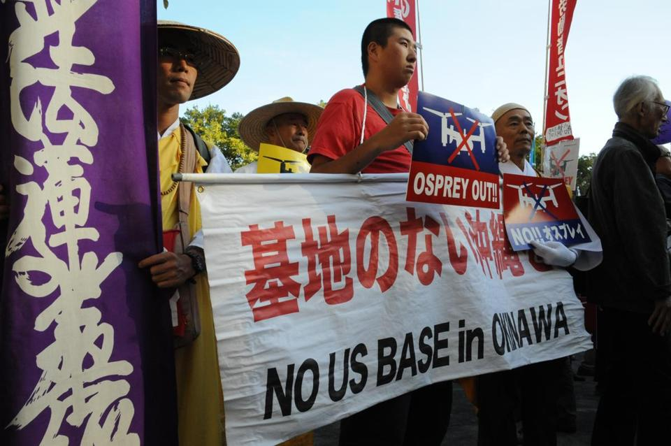 Protesters in Tokyo on Sunday rallied against US military bases on Okinawa and the use of Osprey aircraft.