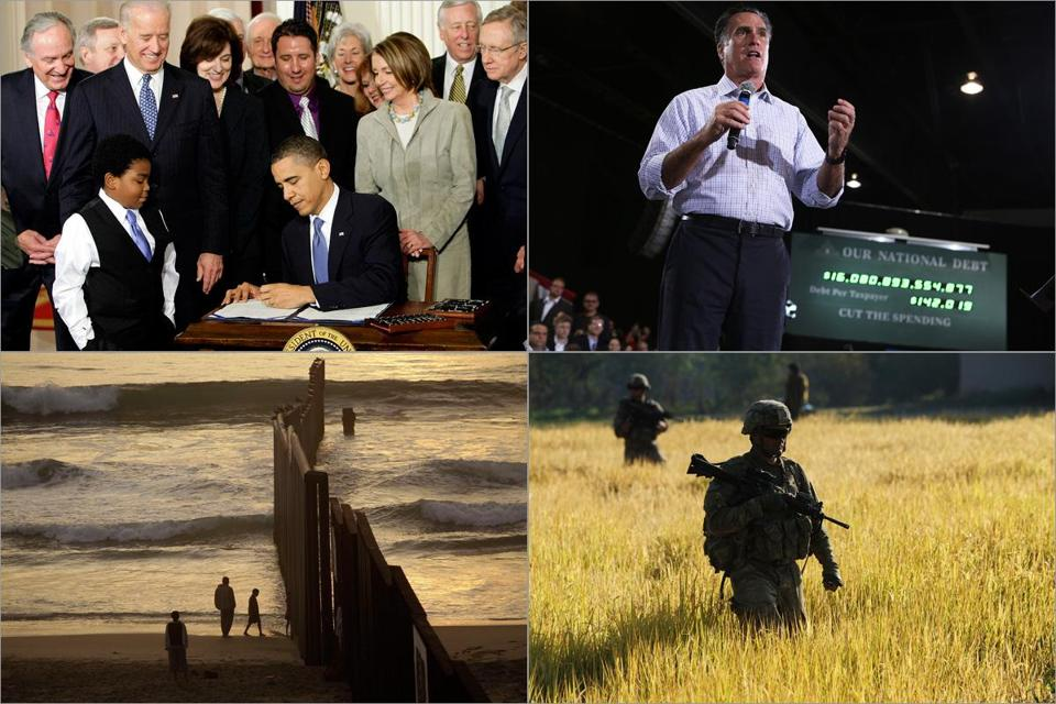 Clockwise from top left: President Obama signed the Affordable Care Act in 2010; a national debt ticker served as a backdrop duringaMitt Romney campaign stop in Ohio; soldiers on patrol in Afghanistan; the border fence in Tijuana, Mexico.